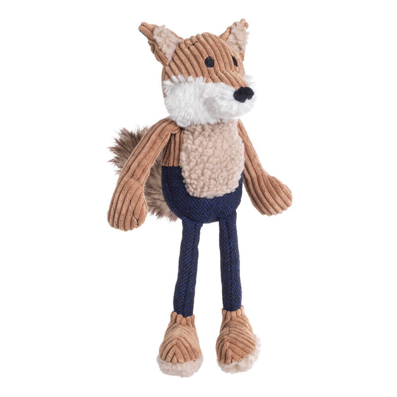 House of Paws Navy Tweed Fox Dog Toy