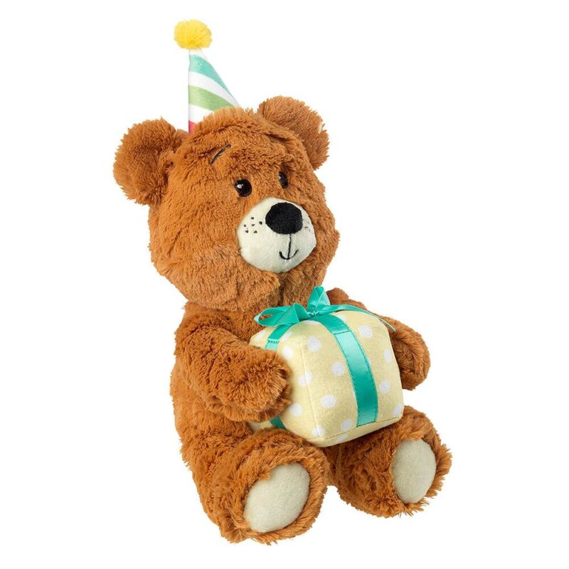 House of Paws Plush Birthday Bear with Gift Dog Toy