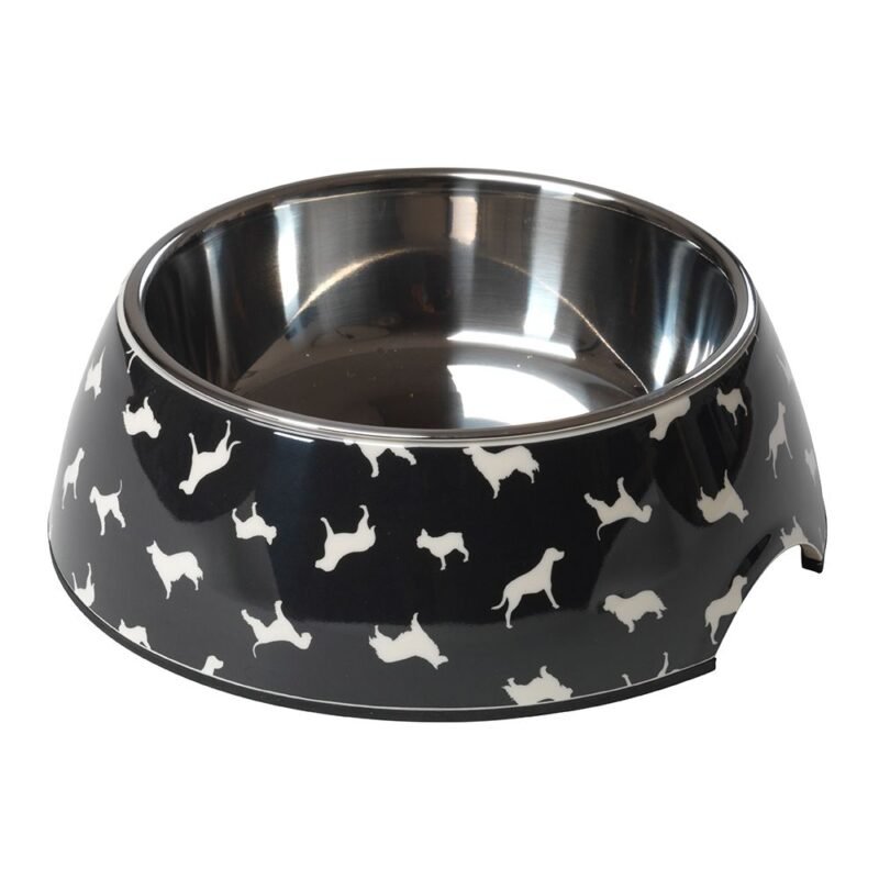House of Paws Silhouette 2 in 1 Dog Bowl - Black Large 700ml