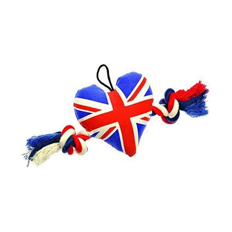 House of Paws Union Jack Heart Tugger Small Dog Toy