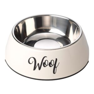 House of Paws Woof 2 in 1 Dog Bowl - Cream Large 700ml