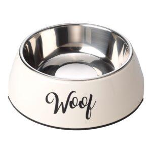 House of Paws Woof 2 in 1 Dog Bowl - Cream Medium 350ml
