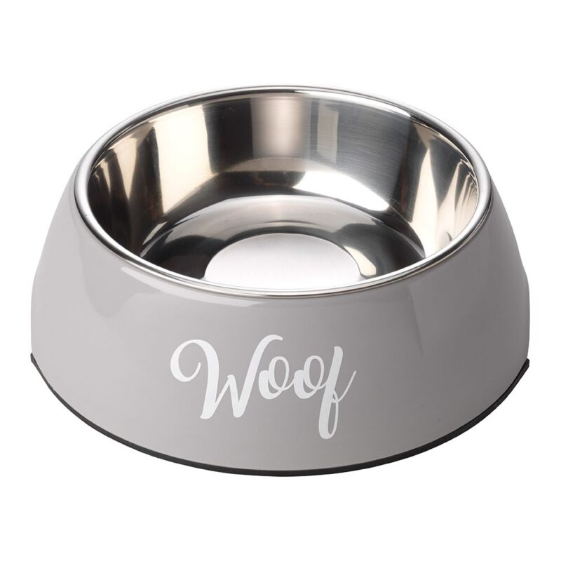 House of Paws Woof 2 in 1 Dog Bowl - Grey Medium 350ml