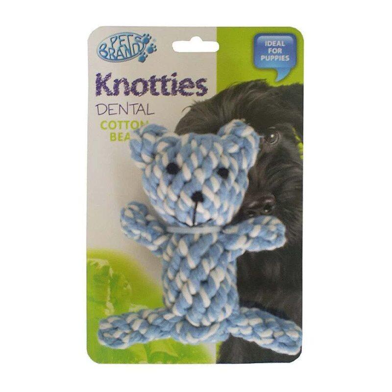Pet Brands Knotties Dental Cotton Teddy Bear Dog Toy