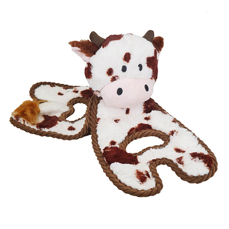 Petstages Cuddle Tugs Cow Dog Toy
