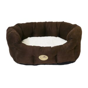 """Rosewood 40 Winks Dog Bed - Chocolate / Cream Faux Suede 28"""""""
