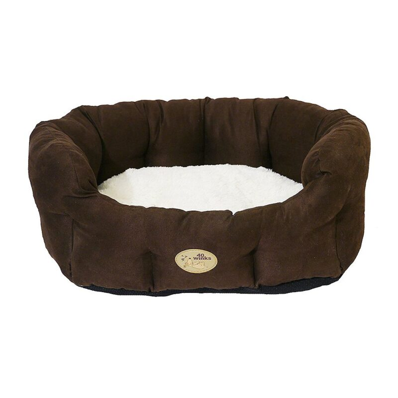 Rosewood 40 Winks Dog Bed - Chocolate / Cream Faux Suede 28""