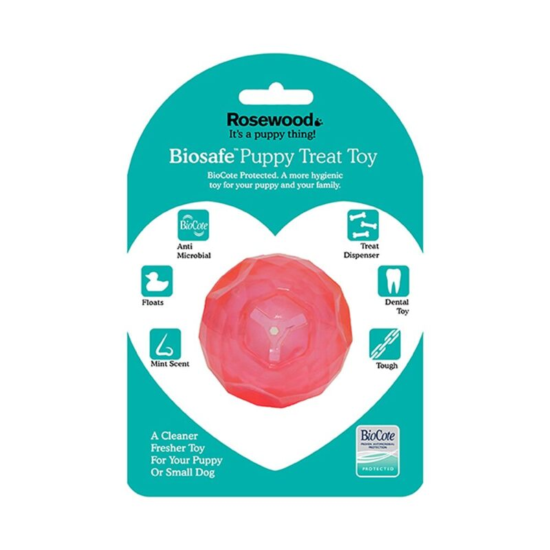Rosewood Biosafe Puppy Treat Ball Pink