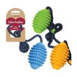 Rosewood Cyber Rubber Rugby Rope Ball Medium Dog Toy