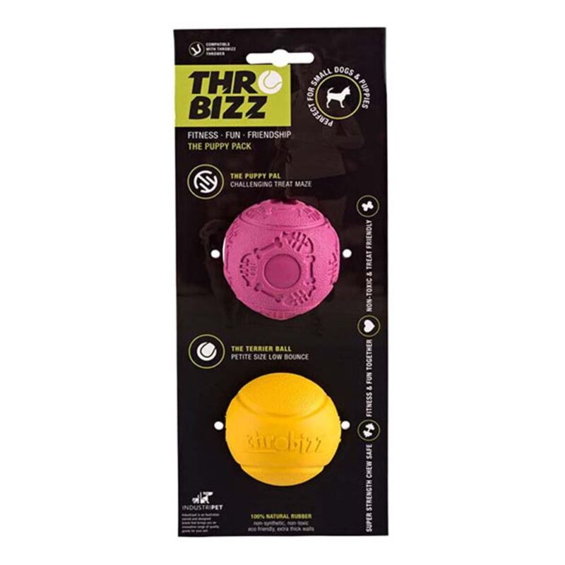 Rosewood Throbizz Ball Dog Toy Puppy Twin Pack