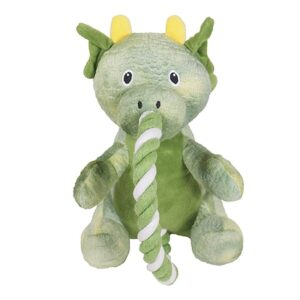 Rosewood Tough Plush Green Rope Dragon Dog Toy