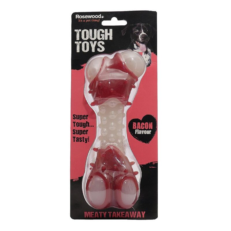 Rosewood Tough Toys Meaty Bacon Takeaway Bone Large Dog Toy