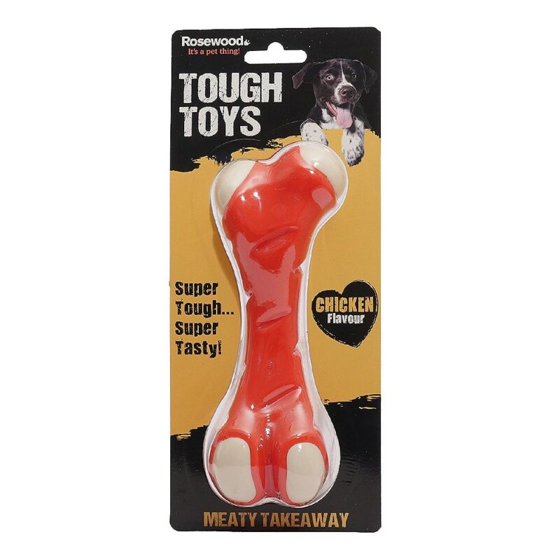 Rosewood Tough Toys Meaty Chicken Takeaway Bone Large Dog Toy