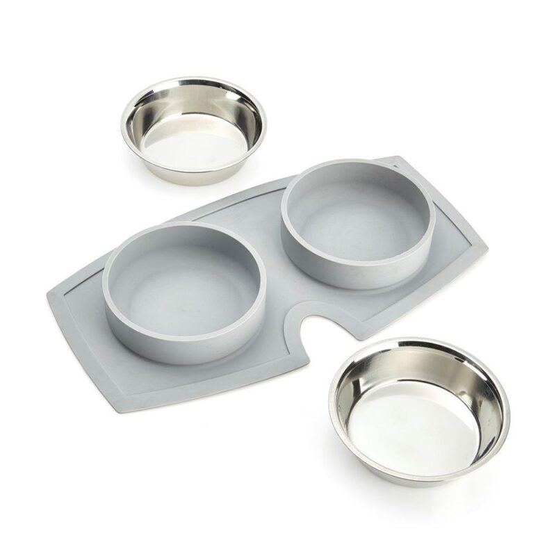 VacuMatt Feeding Mat with Double Diner Stainless Steel Pet Bowl - 450ml x2