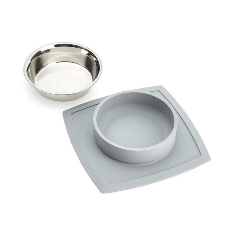 VacuMatt Feeding Mat with Single Diner Stainless Steel Pet Bowl - 850ml